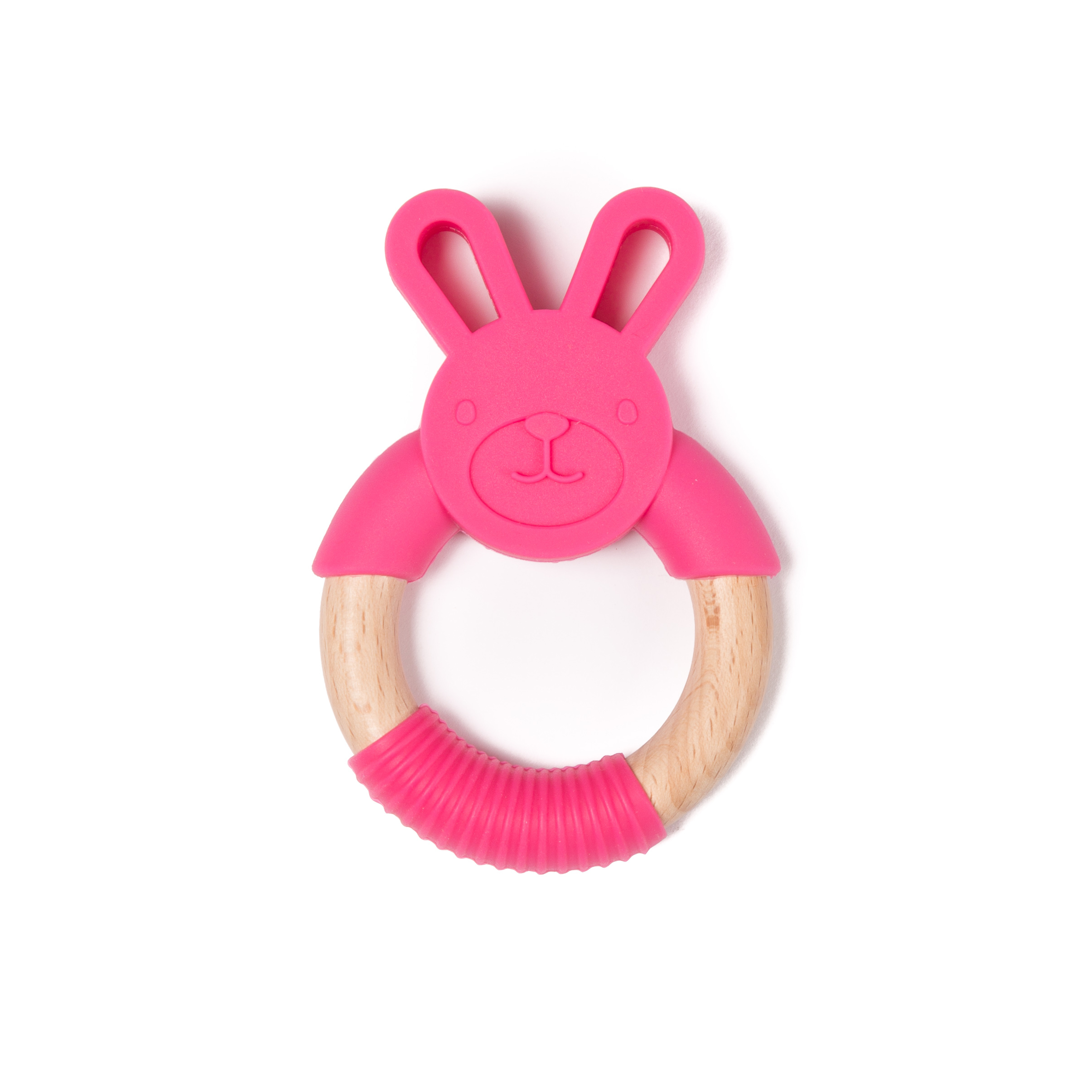 image B-Wood Teether Pink Rabbit