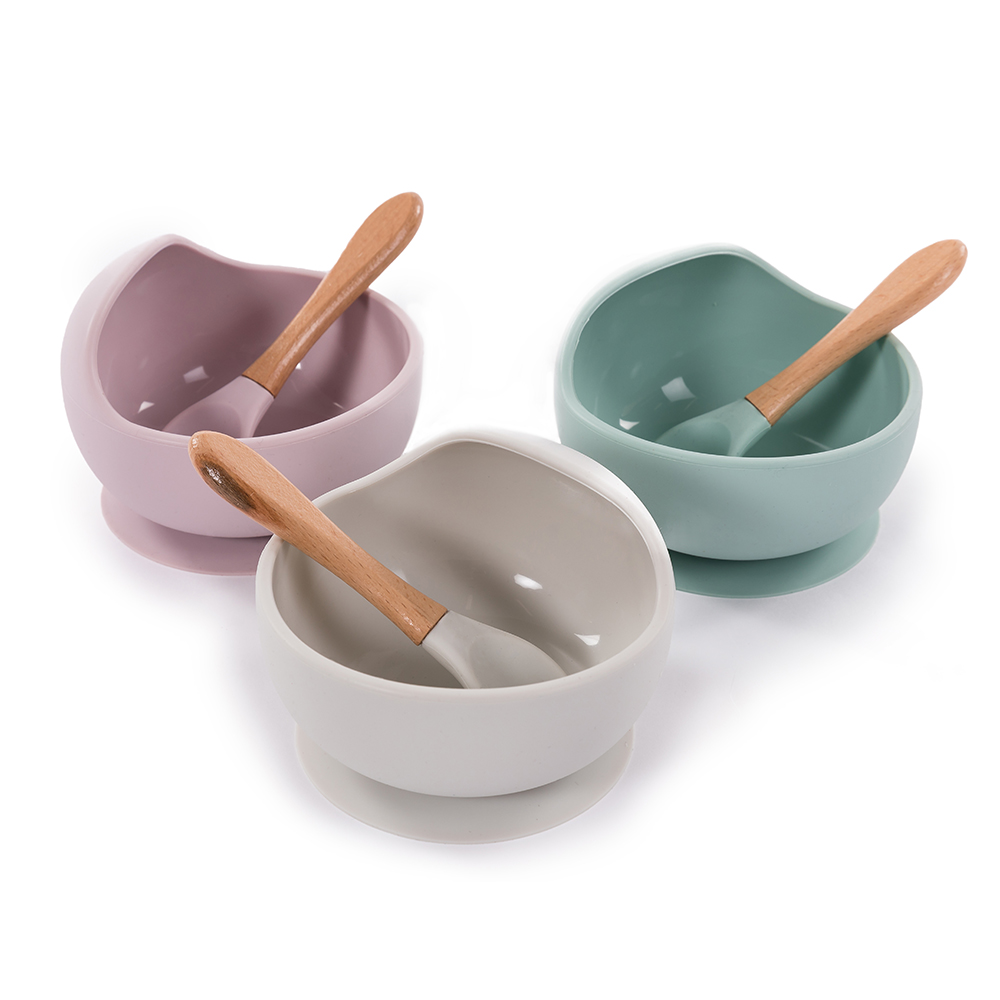 image B-Suction Bowl Silicone & Spoon Grey