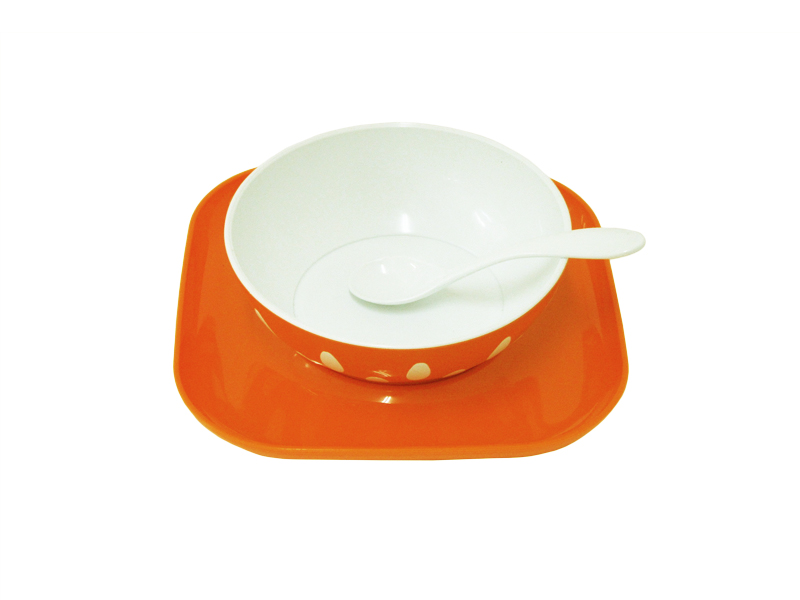 image Σερβίτσιο Φαγητού 3 τεμαχίων Πορτοκαλί