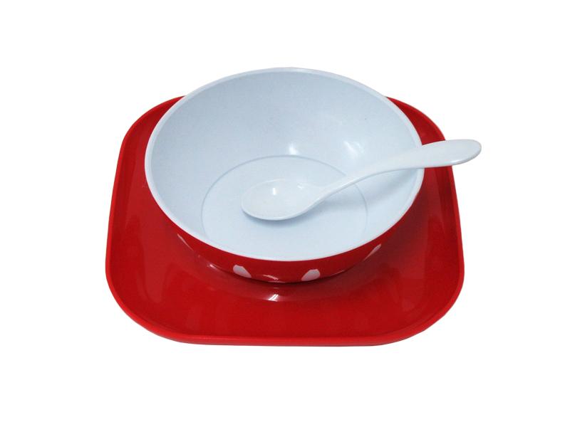 image Σερβίτσιο Φαγητού 3 τεμαχίων Κόκκινο