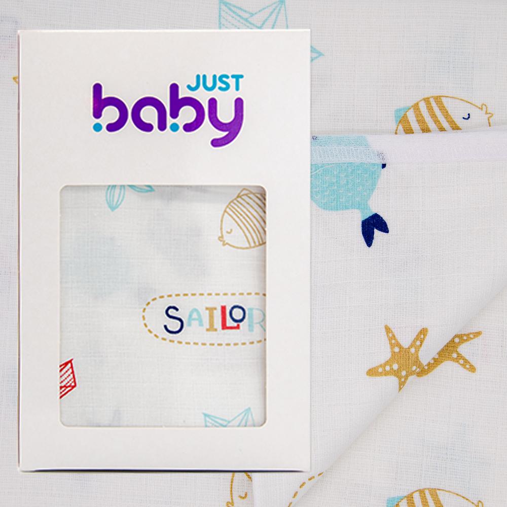 image Just Baby Πάνα Αγκαλιάς 90x90 Μουσελίνα Διπλης Επενδυσης Ψαράκι jb.128.fish