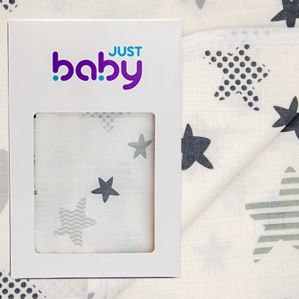 image - Just Baby Πάνα Αγκαλιάς 90x90 Μουσελίνα   Διπλης Επενδυσης Αστεράκι Γκρι jb.128.grey.star