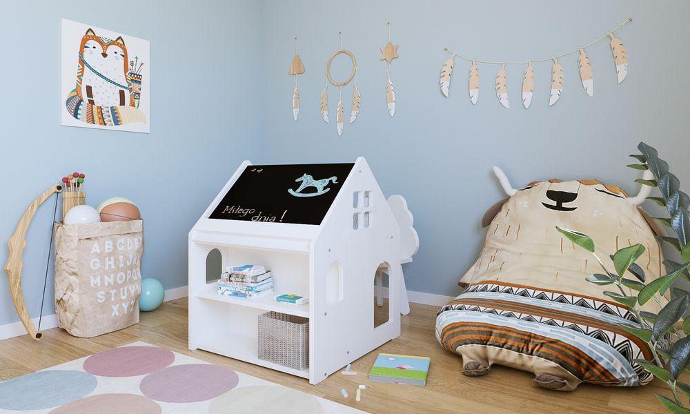 image Just Baby Παιδικό Γραφείο Homie Με Ραφάκια και Μαυροπίνακα Λευκό